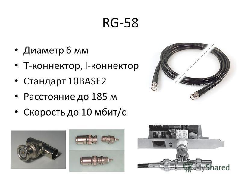RG-58 Диаметр 6 мм Т-коннектор, I-коннектор Стандарт 10BASE2 Расстояние до 185 м Скорость до 10 мбит/с