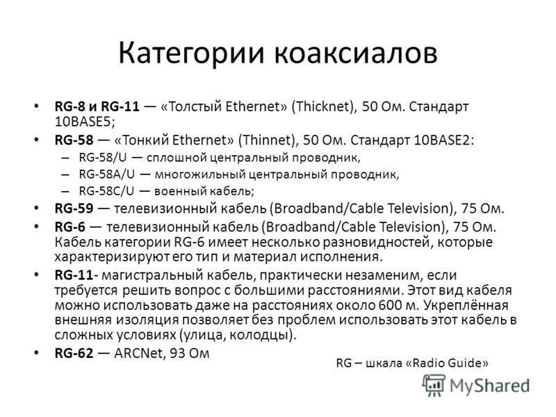 Категории коаксиалов RG-8 и RG-11 «Толстый Ethernet» (Thicknet), 50 Ом. Стандарт 10BASE5; RG-58 «Тонкий Ethernet» (Thinnet), 50 Ом. Стандарт 10BASE2: – RG-58/U сплошной центральный проводник, – RG-58A/U многожильный центральный проводник, – RG-58C/U