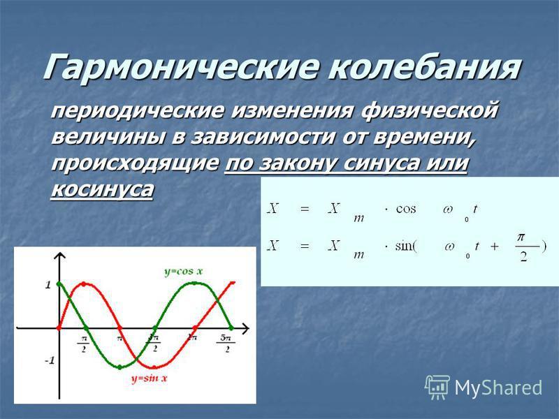 Гармонические колебания периодические изменения физической величины в зависимости от времени, происходящие по закону синуса или косинуса периодические изменения физической величины в зависимости от времени, происходящие по закону синуса или косинуса