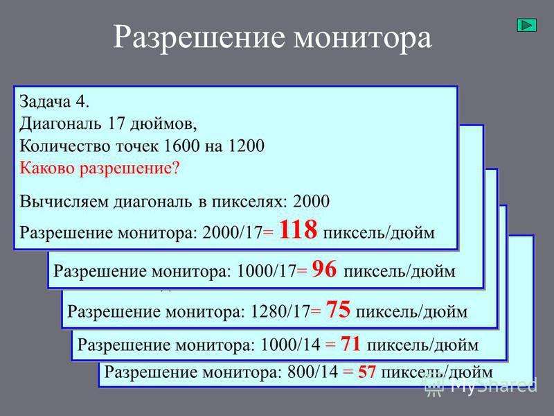 Разрешение монитора Задача 1. Диагональ 14 дюймов, Количество точек 640 на 480. Каково разрешение? Вычисляем диагональ в пикселях: 800 Разрешение монитора: 800/14 = 57 пиксель/дюйм Задача 1. Диагональ 14 дюймов, Количество точек 640 на 480. Каково ра