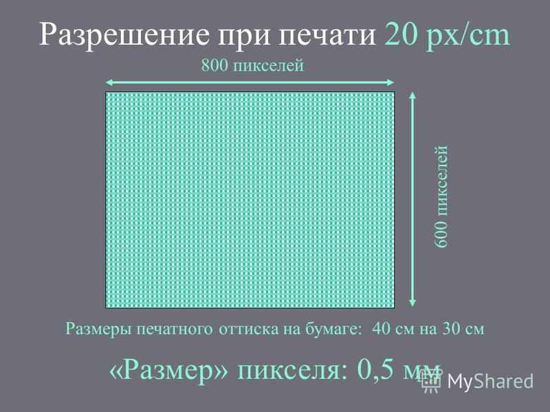 Разрешение при печати 20 px/cm 800 пикселей 600 пикселей Размеры печатного оттиска на бумаге: 40 см на 30 см «Размер» пикселя: 0,5 мм