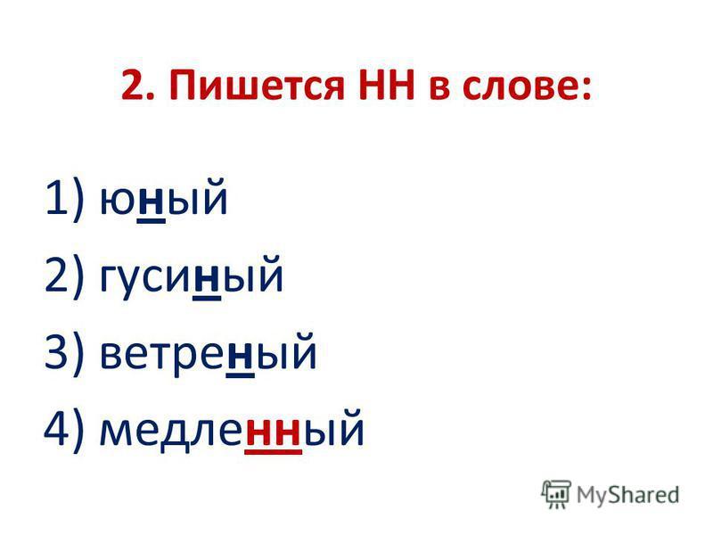 2. Пишется НН в слове: 1) юный 2) гусиный 3) ветреный 4) метленный