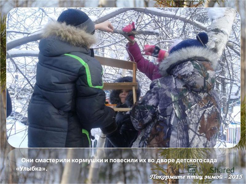 Они смастерили кормушки и повесили их во дворе детского сада «Улыбка».