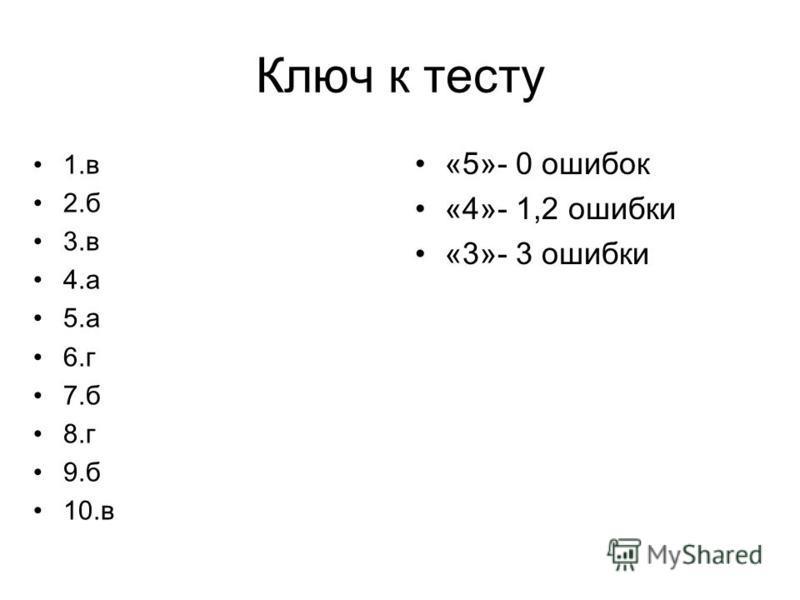 Ключ к тесту 1. в 2. б 3. в 4. а 5. а 6. г 7. б 8. г 9. б 10. в «5»- 0 ошибок «4»- 1,2 ошибки «3»- 3 ошибки