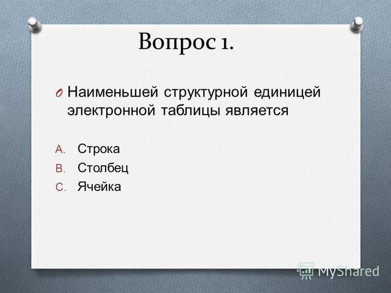 Вопрос 1. O Наименьшей структурной единицей электронной таблицы является A. Строка B. Столбец C. Ячейка