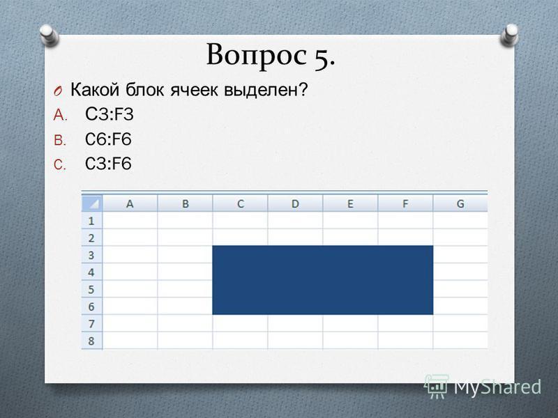 Вопрос 5. O Какой блок ячеек выделен ? A. С 3:F3 B. C6:F6 C. C3:F6