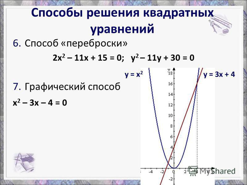 6. Способ «переброски» 2 х 2 – 11 х + 15 = 0; у 2 – 11 у + 30 = 0 7. Графический способ х 2 – 3 х – 4 = 0 у = х 2 у = 3 х + 4 Способы решения квадратных уравнений