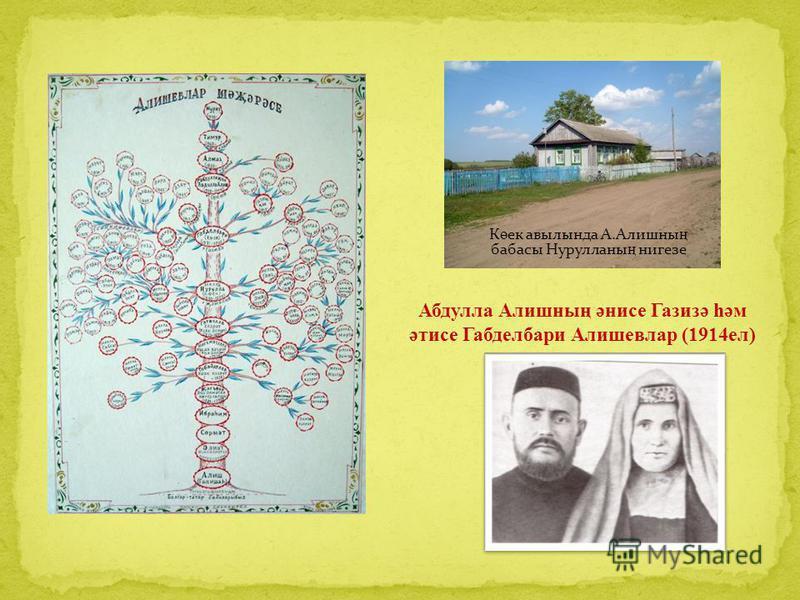 Абдулла Алишның әнисе Газизә һәм әтисе Габделбари Алишевлар (1914ел) К ө ек авылында А.Алишны ң бабасы Нурулланы ң нигезе