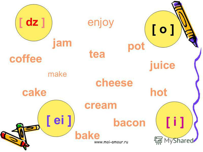 www.moi-amour.ru make enjoy jam juice cheese cream tea pot hot coffee bake cake bacon [ ei ] [ o ] [ i ] [ dz ]