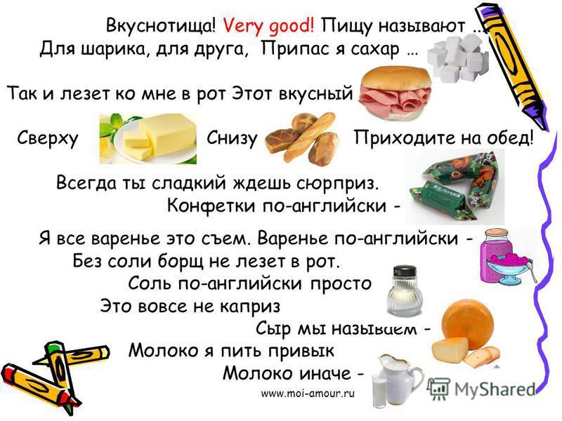 www.moi-amour.ru Вкуснотища! Very good! Пищу называют.... Для шарика, для друга, Припас я сахар … Так и лезет ко мне в рот Этот вкусный Сверху Снизу Приходите на обед! Всегда ты сладкий ждешь сюрприз. Конфетки по-английски - …. Я все варенье это съем