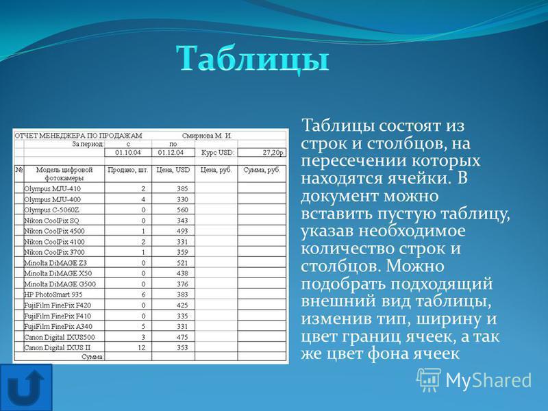 Таблицы состоят из строк и столбцов, на пересечении которых находятся ячейки. В документ можно вставить пустую таблицу, указав необходимое количество строк и столбцов. Можно подобрать подходящий внешний вид таблицы, изменив тип, ширину и цвет границ