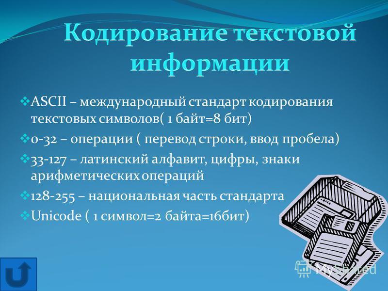 ASCII – международный стандарт кодирования текстовых символов( 1 байт=8 бит) 0-32 – операции ( перевод строки, ввод пробела) 33-127 – латинский алфавит, цифры, знаки арифметических операций 128-255 – национальная часть стандарта Unicode ( 1 символ=2