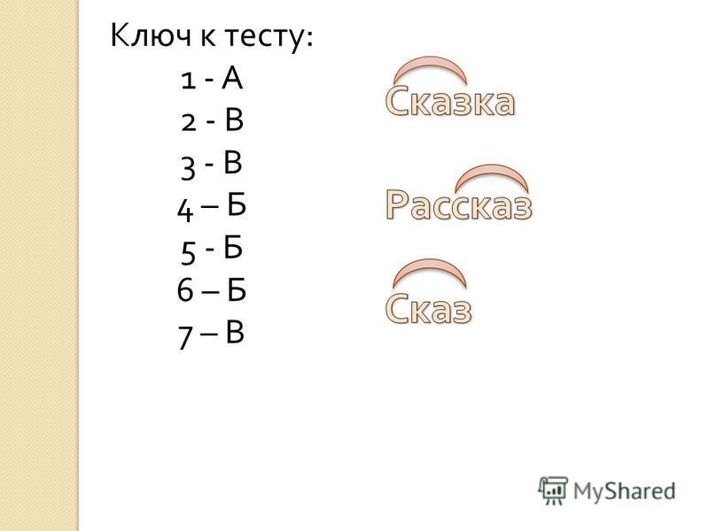 Ключ к тесту : 1 - А 2 - В 3 - В 4 – Б 5 - Б 6 – Б 7 – В