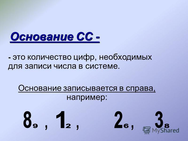 - это количество цифр, необходимых для записи числа в системе. Основание записывается в справа, например: Основание СС -