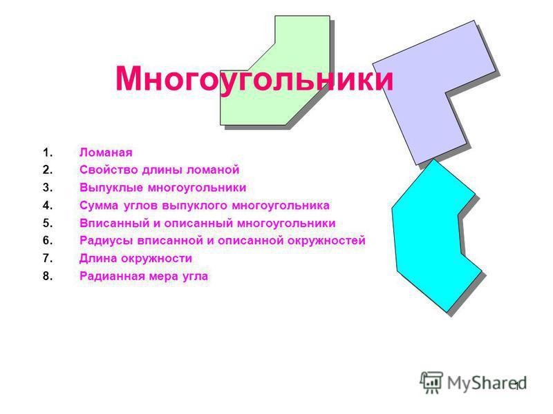1 Многоугольники 1. Ломаная 2. Свойство длины ломаной 3. Выпуклые многоугольники 4. Сумма углов выпуклого многоугольника 5. Вписанный и описанный многоугольники 6. Радиусы вписанной и описанной окружностей 7. Длина окружности 8. Радианная мера угла