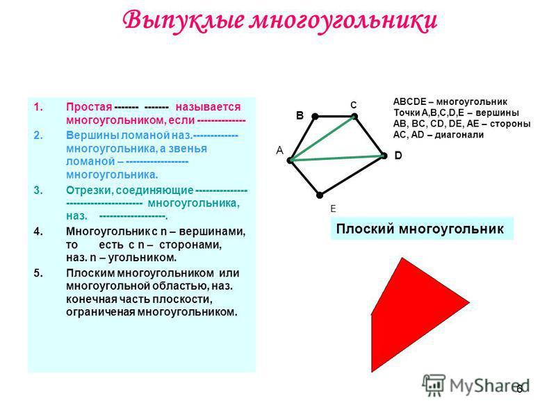 6 Выпуклые многоугольники 1. Простая ------- ------- называется многоугольником, если -------------- 2. Вершины ломаной наз.------------- многоугольника, а звенья ломаной – ------------------ многоугольника. 3.Отрезки, соединяющие --------------- ---