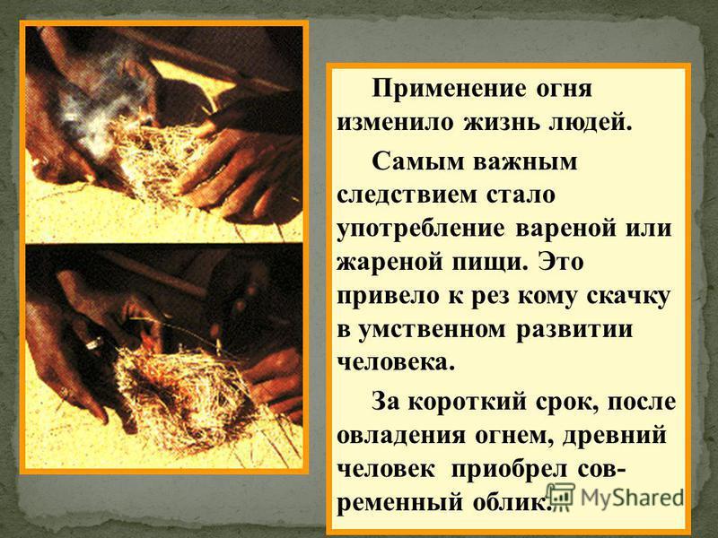 Применение огня изменило жизнь людей. Самым важным следствием стало употребление вареной или жареной пищи. Это привело к рез кому скачку в умственном развитии человека. За короткий срок, после овладения огнем, древний человек приобрел сов- ременный о