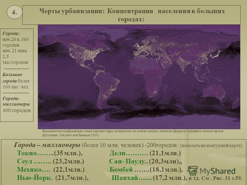 Космическое изображение огней городов мира составлено на основе многих снимков Земли из космоса в ночное время (Источник: Mayhew and Simmon 2000) Города: нач.20 в. 360 городов. нач. 21 века 2,5 тыс.городов -------------- Большие города более 100 тыс.