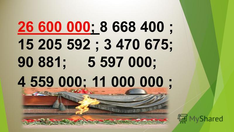 26 600 000; 8 668 400 ; 15 205 592 ; 3 470 675; 90 881; 5 597 000; 4 559 000; 11 000 000 ;