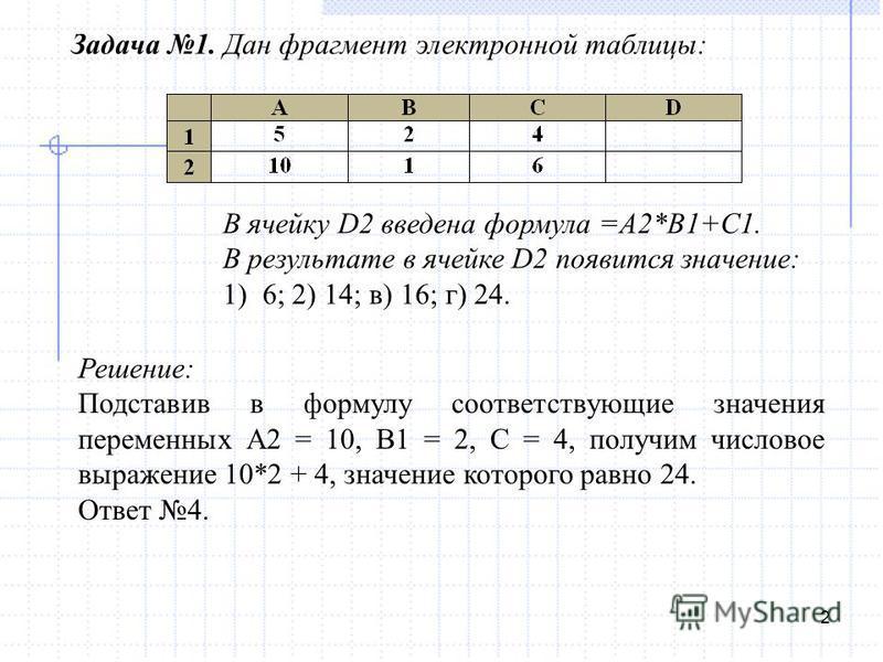 2 Задача 1. Дан фрагмент электронной таблицы: В ячейку D2 введена формула =A2*B1+C1. В результате в ячейке D2 появится значение: 1) 6; 2) 14; в) 16; г) 24. Решение: Подставив в формулу соответствующие значения переменных А2 = 10, В1 = 2, С = 4, получ