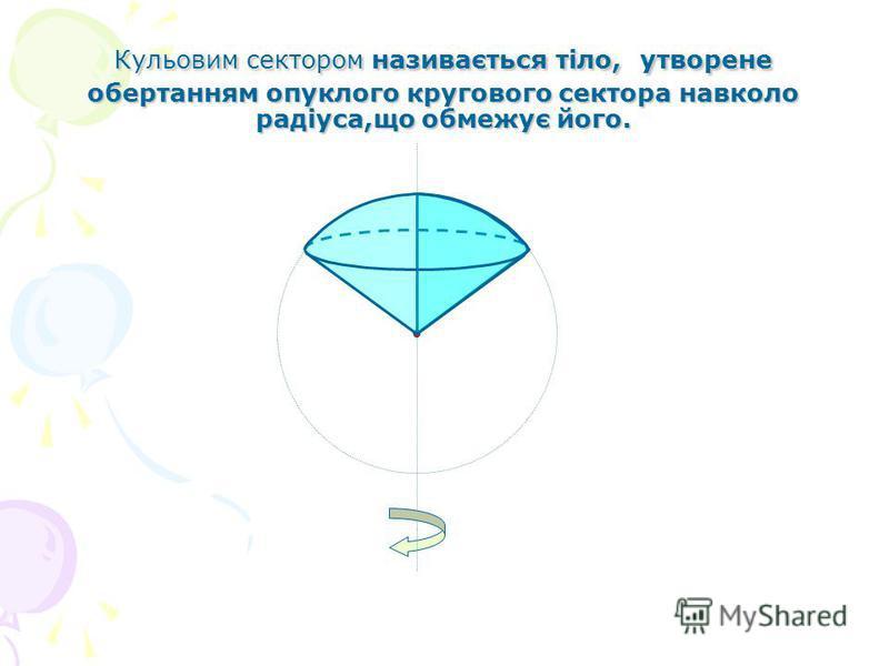 Кульовим сектором називається тіло, утворене обертанням опуклого кругового сектора навколо радіуса,що обмежує його.