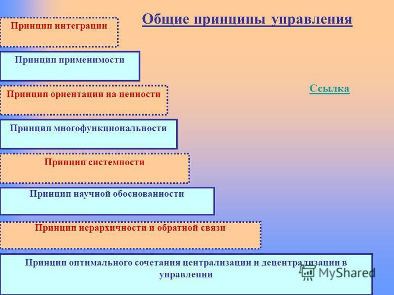 Общие принципы управления Ссылка Принцип применимости Принцип системности Принцип многофункциональности Принцип интеграции Принцип ориентации на ценности Принцип оптимального сочетания централизации и децентрализации в управлении Принцип научной обос