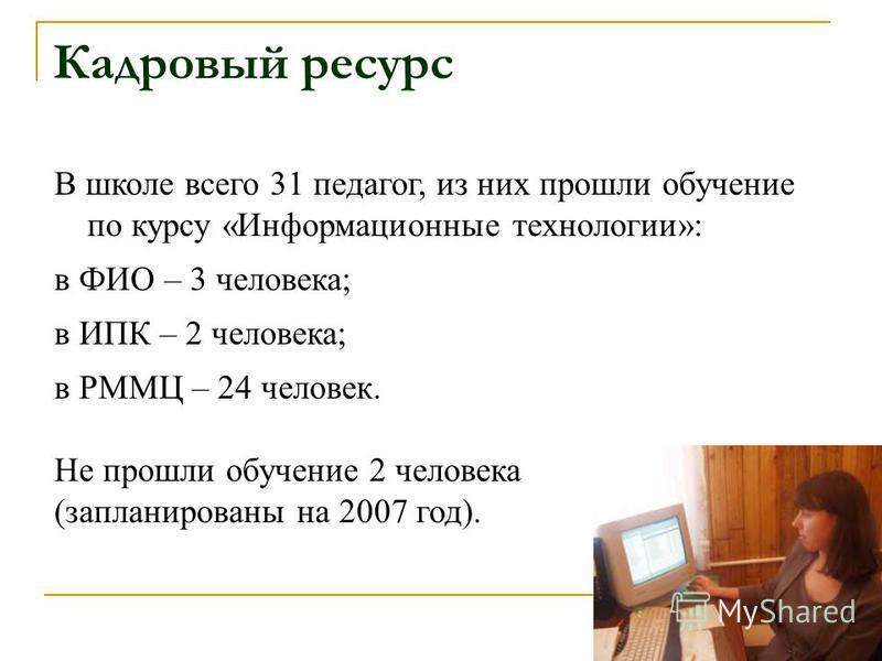 Кадровый ресурс В школе всего 31 педагог, из них прошли обучение по курсу «Информационные технологии»: в ФИО – 3 человека; в ИПК – 2 человека; в РММЦ – 24 человек. Не прошли обучение 2 человека (запланированы на 2007 год).