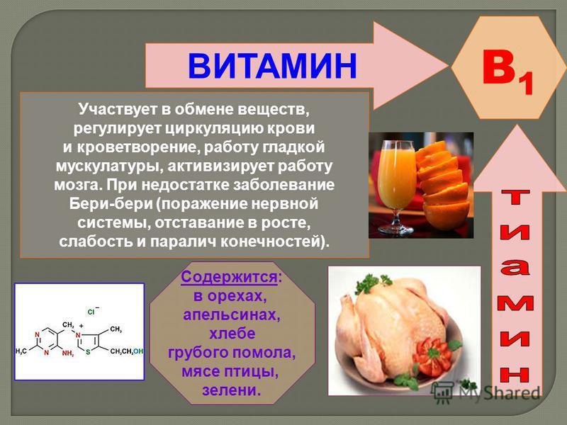 ВИТАМИН B1B1 Участвует в обмене веществ, регулирует циркуляцию крови и кроветворение, работу гладкой мускулатуры, активизирует работу мозга. При недостатке заболевание Бери-бери (поражение нервной системы, отставание в росте, слабость и паралич конеч