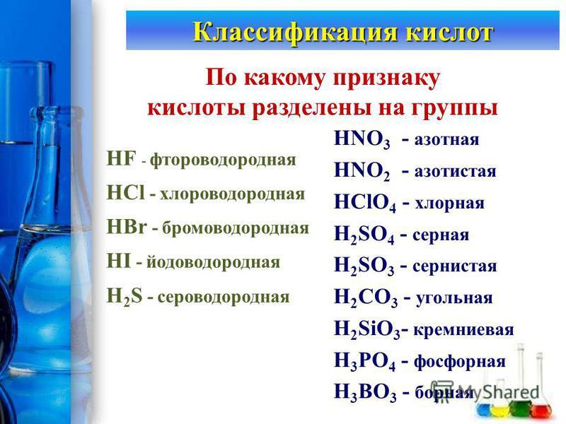 ProPowerPoint.Ru Классификация кислот По какому признаку кислоты разделены на группы HNO 3 - азотная HNO 2 - азотистая HClO 4 - хлорная H 2 SO 4 - серная H 2 SO 3 - сернистая H 2 CO 3 - угольная H 2 SiO 3 - кремниевая H 3 PO 4 - фосфорная H 3 BO 3 -
