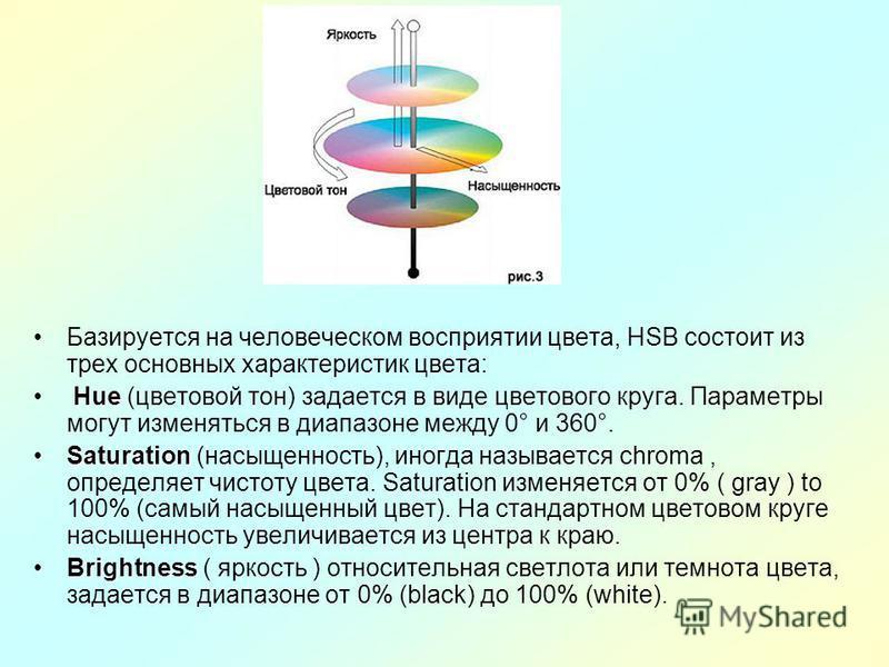 Базируется на человеческом восприятии цвета, HSB состоит из трех основных характеристик цвета: Hue Hue (цветовой тон) задается в виде цветового круга. Параметры могут изменяться в диапазоне между 0° и 360°. SaturationSaturation (насыщенность), иногда