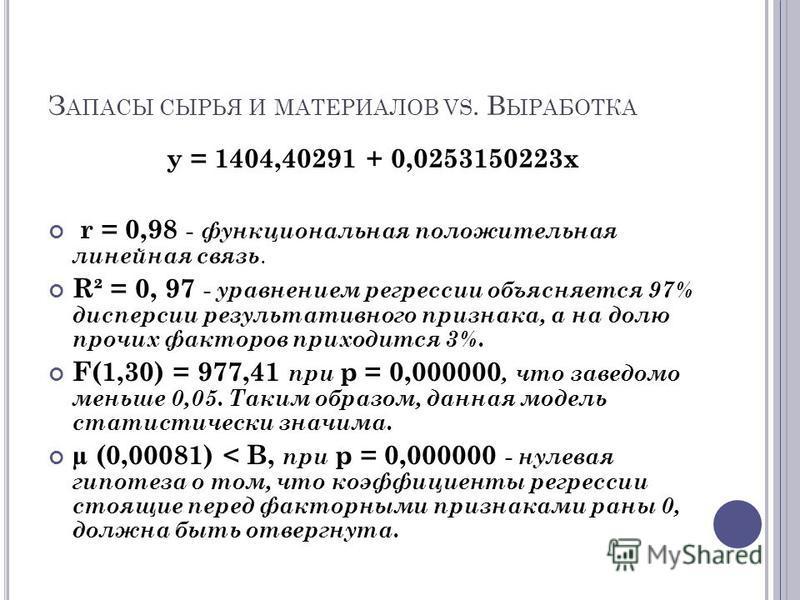 y = 1404,40291 + 0,0253150223x r = 0,98 - функциональная положительная линейная связь. R² = 0, 97 - уравнением регрессии объясняется 97% дисперсии результативного признака, а на долю прочих факторов приходится 3%. F(1,30) = 977,41 при p = 0,000000, ч
