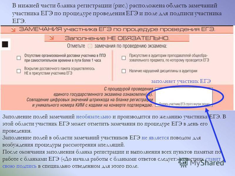 В нижней части бланка регистрации (рис.) расположена область замечаний участника ЕГЭ по процедуре проведения ЕГЭ и поле для подписи участника ЕГЭ. Заполнение полей замечаний необязательно и производится по желанию участника ЕГЭ. В этой области участн