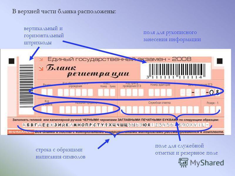 В верхней части бланка расположены: поле для служебной отметки и резервное поле строка с образцами написания символов поля для рукописного занесения информации вертикальный и горизонтальный штрихкоды