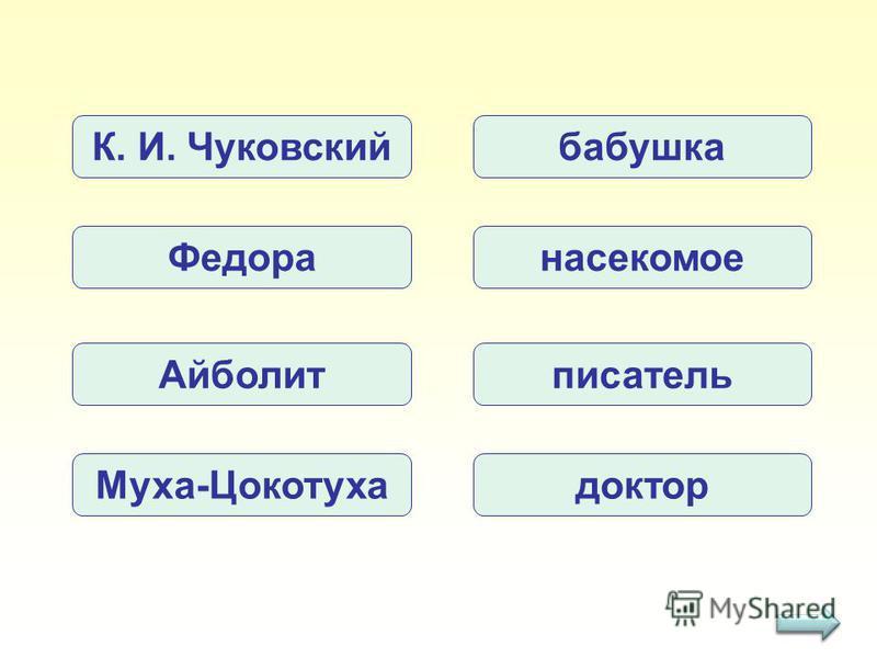 К. И. Чуковский Федора Айболит Муха-Цокотуха бабушка насекомое писатель доктор