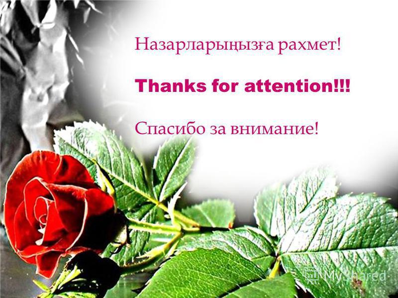 Назарлары ң из ғ а рахмет! Thanks for attention!!! Спасибо за внимание!