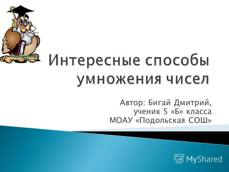 Автор: Бигай Дмитрий, ученик 5 «Б» класса МОАУ «Подольская СОШ»