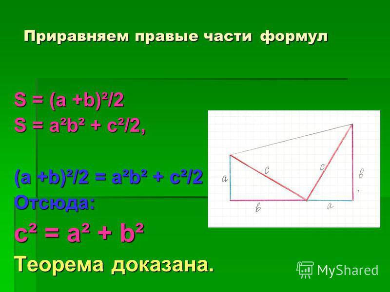 Приравняем правые части формул S = (a +b)²/2 S = a²b² + c²/2, (a +b)²/2 = a²b² + c²/2 Отсюда: с² = а² + b² Теорема доказана.