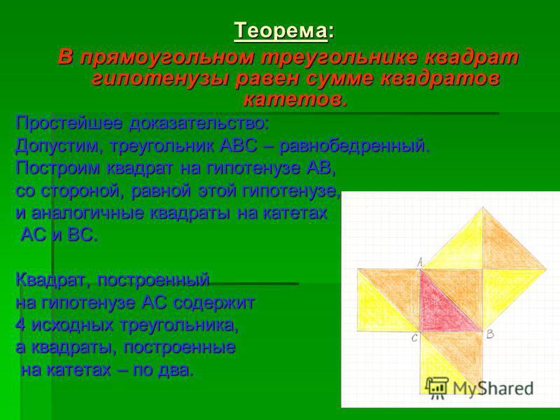 Теорема: В прямоугольном треугольнике квадрат гипотенузы равен сумме квадратов катетов. В прямоугольном треугольнике квадрат гипотенузы равен сумме квадратов катетов. Простейшее доказательство: Допустим, треугольник АВС – равнобедренный. Построим ква