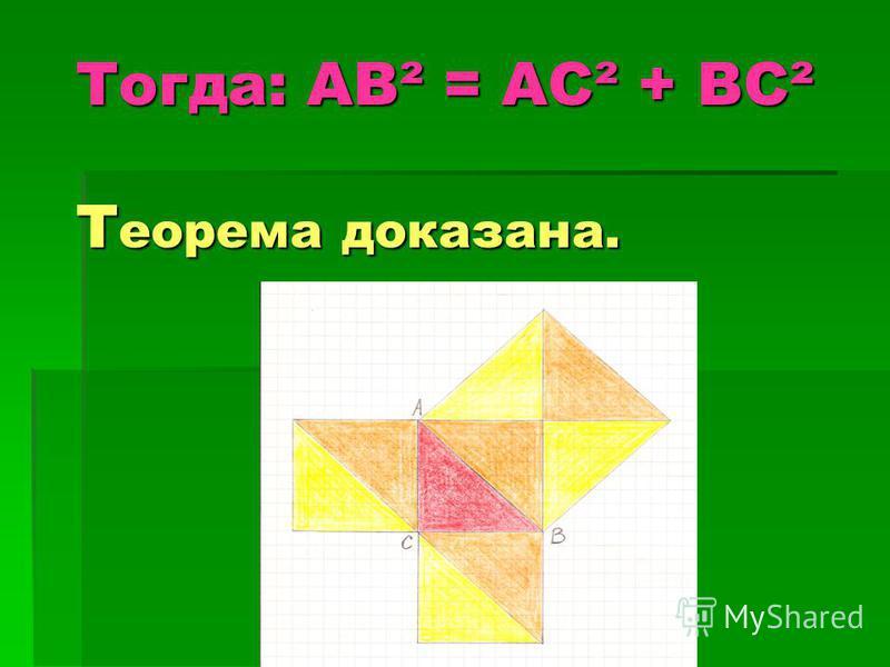 Тогда: АВ² = АС² + ВС² Т еорема доказана.