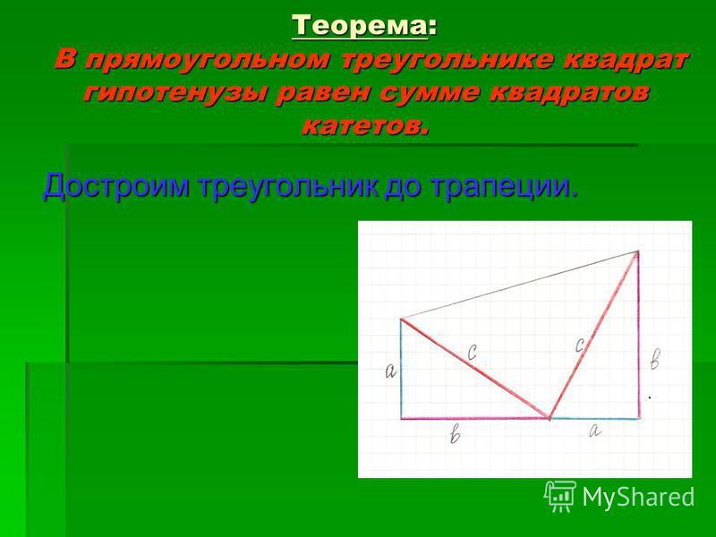 Теорема: В прямоугольном треугольнике квадрат гипотенузы равен сумме квадратов катетов. Достроим треугольник до трапеции.