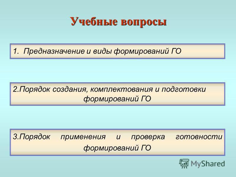 Учебные вопросы 1. Предназначение и виды формирований ГО 2. Порядок создания, комплектования и подготовки формирований ГО 3. Порядок применения и проверка готовности формирований ГО