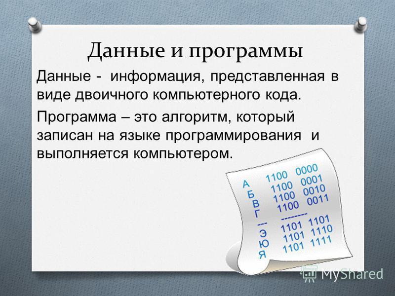 Данные и программы Данные - информация, представленная в виде двоичного компьютерного кода. Программа – это алгоритм, который записан на языке программирования и выполняется компьютером.