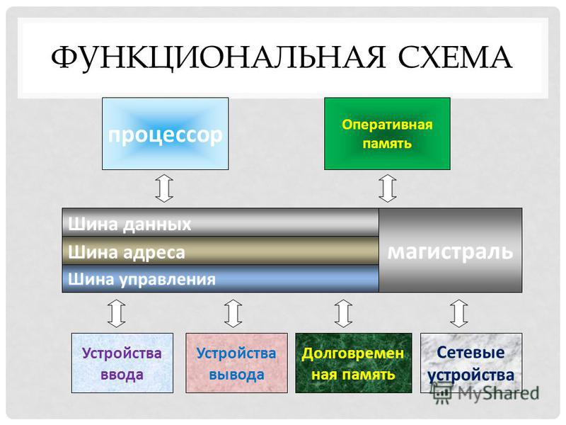 ФУНКЦИОНАЛЬНАЯ СХЕМА Шина данных Шина адреса Шина управления магистраль Оперативная память процессор Устройства ввода Устройства вывода Долговремен ная память Сетевые устройства
