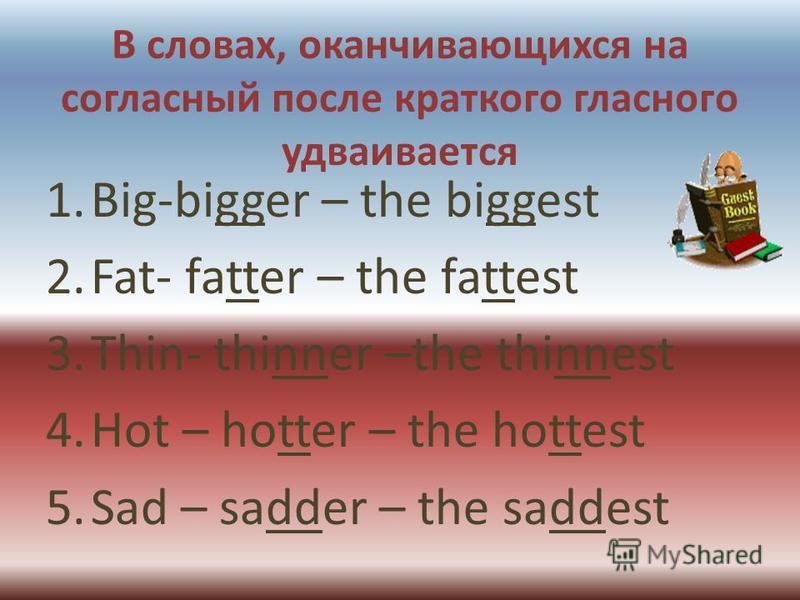 В словах, оканчивающихся на согласный после краткого гласного удваивается 1.Big-bigger – the biggest 2.Fat- fatter – the fattest 3.Thin- thinner –the thinnest 4. Hot – hotter – the hottest 5. Sad – sadder – the saddest