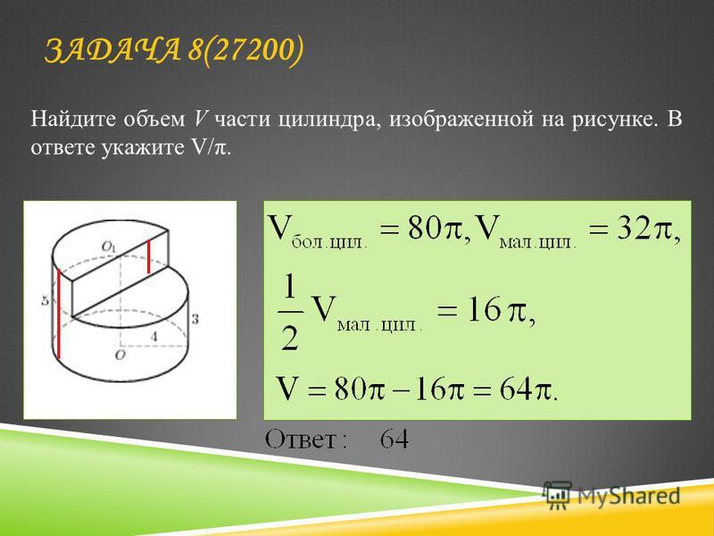 Найдите объем V части цилиндра, изображенной на рисунке. В ответе укажите V/π. ЗАДАЧА 8(27200)