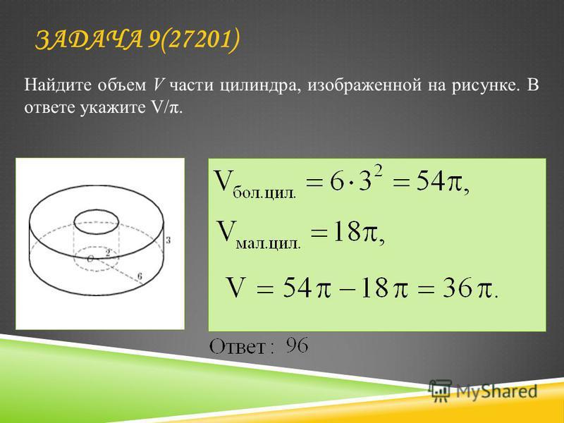 Найдите объем V части цилиндра, изображенной на рисунке. В ответе укажите V/π. ЗАДАЧА 9(27201)