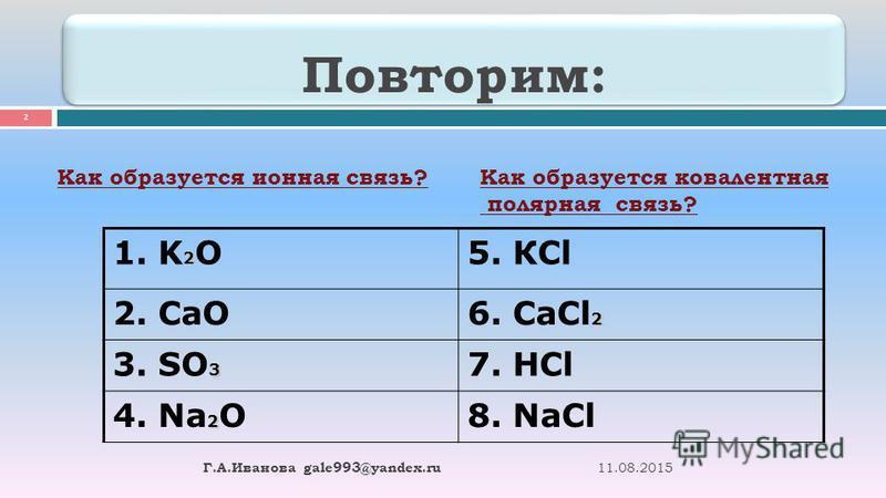 11.08.2015 2 Г. А. Иванова gale993@yandex.ru Повторим: Как образуется ионная связь?Как образуется ковалентная полярная связь? 2 1. K 2 O5. КCl 2. CaO 2 6. СaCl 2 3 3. SO 3 7. НCl 2 4. Na 2 O8. NaCl