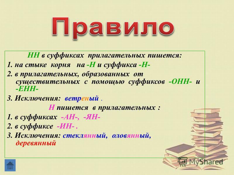 HH в суффиксах прилагательных пишется: 1. на стыке корня на -Н и суффикса -Н- 2. в прилагательных, образованых от существительных с помощью суффиксов -ОНН- и -ЕНН- 3. Исключения: ветреней. Н пишется в прилагательных : 1. в суффиксах -АН-, -ЯН- 2. в с