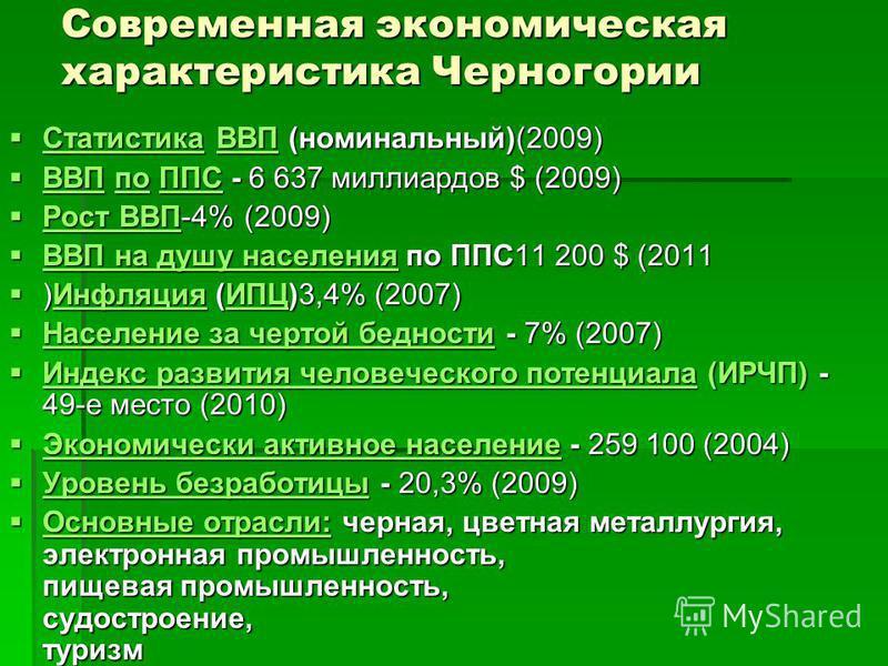 Современная экономическая характеристика Черногории Статистика ВВП (номинальный)(2009) Статистика ВВП (номинальный)(2009)ВВП ВВП по ППС - 6 637 миллиардов $ (2009) ВВП по ППС - 6 637 миллиардов $ (2009) ВВПППС ВВПППС Рост ВВП-4% (2009) Рост ВВП-4% (2