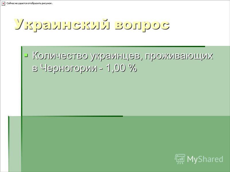 Украинский вопрос Количество украинцев, проживающих в Черногории - 1,00 % Количество украинцев, проживающих в Черногории - 1,00 %